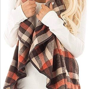 Womens Sleeveless Open Front plaid Vest